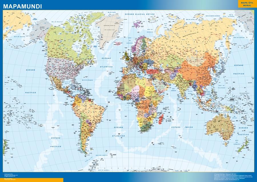 mapa mundo español plastificado